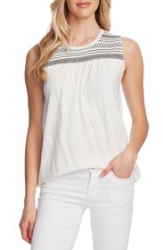 Vince Camuto Sleeveless Smocked Embroidered Top