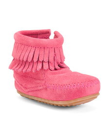 MINNETONKA Double Fringe Suede Booties (Toddlers)
