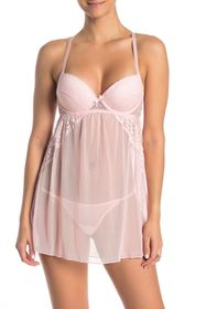 Jessica Simpson Scalloped Lace Babydoll & Thong 2-