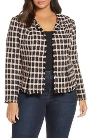 CeCe Grid Tweed Frayed Jacket