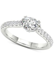 Diamond Oval Gallery Halo Engagement Ring (1-1/4 c