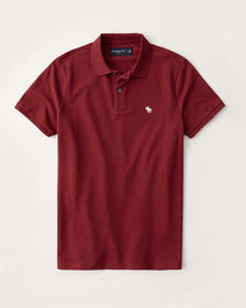 Classic Icon Stretch Polo, RED WITH WHITE