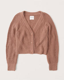 Chenille Cropped Cardigan, TERRACOTTA BROWN