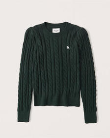 Puff Sleeve Icon Cable Crew, GREEN