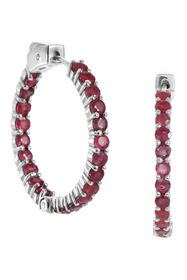 Savvy Cie Sterling Silver Ruby Inside Out Hoop Ear