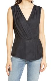 Chelsea28 Houndstooth Satin Drape Top