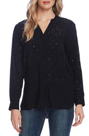 Vince Camuto Mixed Eyelet Embroidered Top