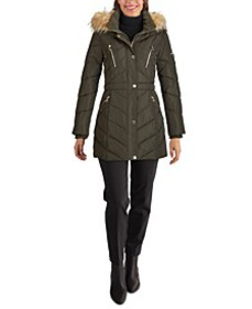 Faux-Fur Trim Hooded Puffer Coat, Created for Macy