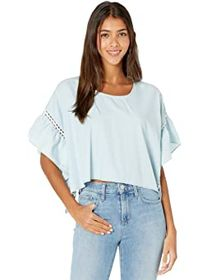 BCBGeneration Rectangle Ruffle Sleeve Woven Top TS