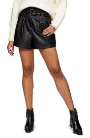 TOPSHOP Belted Faux Leather Shorts