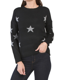 PHILOSOPHY Crew Neck Pullover Sweater With Star Pa