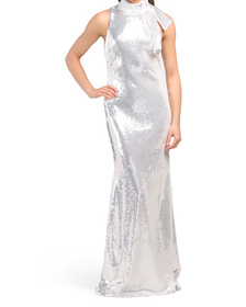 Sequin Tie Neck Sleeveless Gown