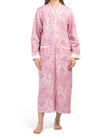 Quilted Knit Long Zip Paisley Robe