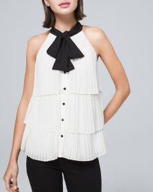 Bow-Neck Pleated Blouse