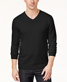 Men's Solid V-Neck Cotton Sweater, Created for Mac
