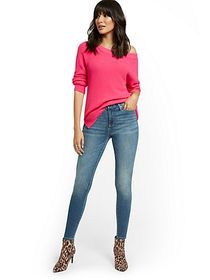 High-Waisted Curvy Skinny Jeans - Vibrant Blue - N