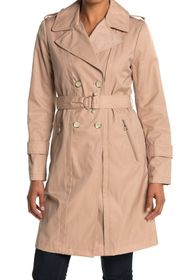 Karl Lagerfeld Paris Double Breasted Belted Trench