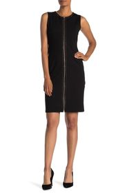 T Tahari Studded Zip Front Bodycon Dress