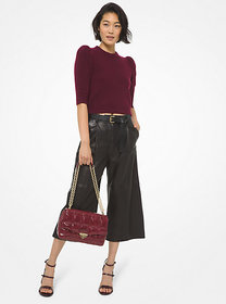 Michael Kors Knit Puff Sleeve Cropped Sweater