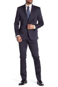 Kenneth Cole Reaction Navy Solid Two Button Notch