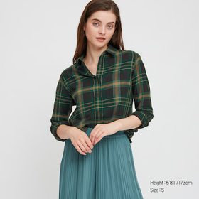 Women Flannel Checked Long-Sleeve Shirt, Green, Me