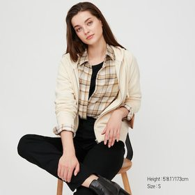 Women Flannel Checked Long-Sleeve Shirt, Beige, Me