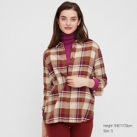 Women Flannel Checked Long-Sleeve Shirt, Wine, Med