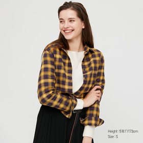 Women Flannel Checked Long-Sleeve Shirt, Yellow, M