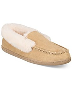 Women's Faux-Fur Moccasin Slippers, Created for Ma