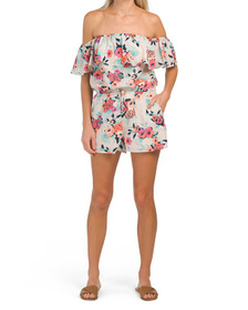 Floral Printed Off The Shoulder Romper