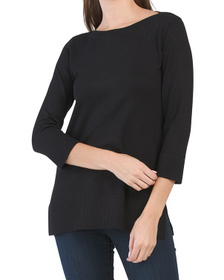 Three-quarter Sleeve Boat Neck Tunic Sweater