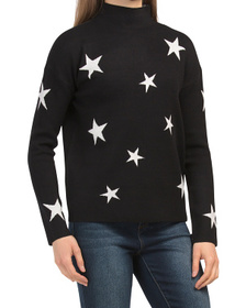 Funnel Neck Double Knit Star Sweater