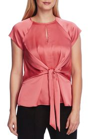Vince Camuto Tie Front Satin Charmeuse Keyhole Blo
