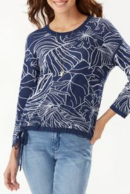 Tommy Bahama Island Bloom Jacquard Tie Hem Sweater