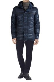 KENNETH COLE Camo Print Hooded Puffer Jacket