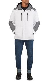 KENNETH COLE Colorblock Hooded Puffer Jacket