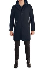 KENNETH COLE Hooded Mixed Media Coat