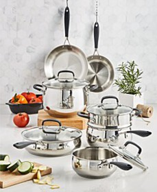 Stainless Steel 12-Pc. Cookware Set, Created for M