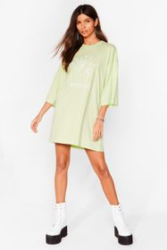 Nasty Gal Sage Protect Mother Earth Embroidered Te