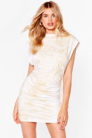 Nasty Gal Sand Power of Love Ruched Mini Dress