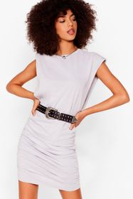 Nasty Gal Grey Power of Love Ruched Mini Dress
