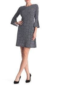 Tommy Hilfiger Printed Bell Sleeve Jersey Dress