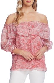 Vince Camuto Tiered Off The Shoulder Paisley Blous