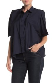 FRNCH Button Front Boxy Poncho Shirt