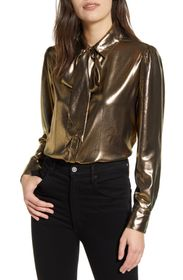 7 For All Mankind Metallic Neck Tie Blouse