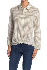 7 For All Mankind Check Self-Tie Button Down Shirt