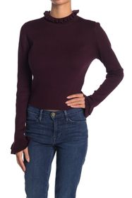 7 For All Mankind Ruffle Neck Rib Knit Top