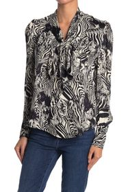 7 For All Mankind Abstract Neck Tie Blouse