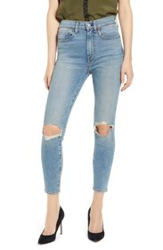 7 For All Mankind Distressed Ankle Skinny Jeans
