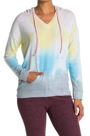 Theo and Spence Tie-Dye V-Neck Drawstring Hoodie